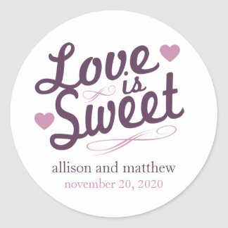 Love Is Sweet Old Fashioined Label (Plum / Purple) Classic Round Sticker