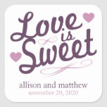 Love Is Sweet Old Fashioined Label (Plum/Purple) Square Sticker