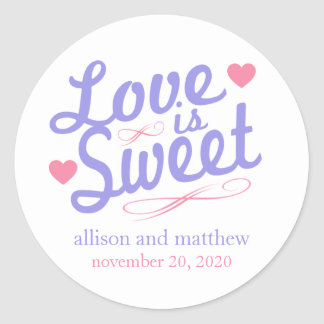 Love Is Sweet Old Fashioined Label (Purple / Pink) Classic Round Sticker