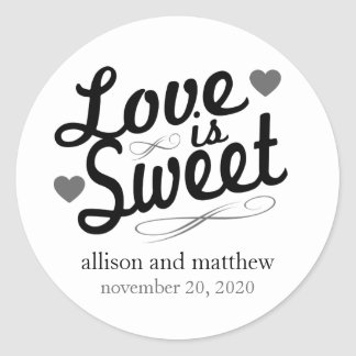 Love Is Sweet Old Fashioined Labels (Black / Gray) Classic Round Sticker