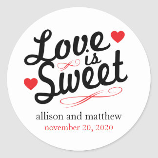 Love Is Sweet Old Fashioined Labels (Black / Red) Classic Round Sticker