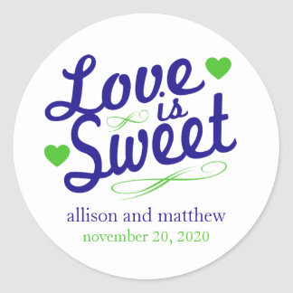 Love Is Sweet Old Fashioined Labels Blue Lime Round Sticker
