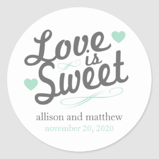 Love Is Sweet Old Fashioined Labels (Gray / Mint) Classic Round Sticker
