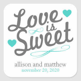 Love Is Sweet Old Fashioined Labels (Gray / Teal) Square Sticker