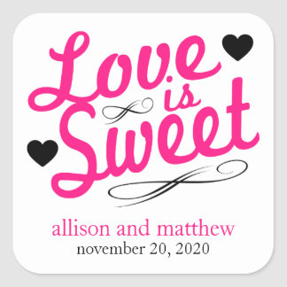Love Is Sweet Old Fashioined Labels (Pink / Black)