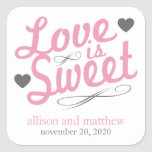 Love Is Sweet Old Fashioined Labels (Pink / Gray) Square Sticker