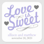 Love Is Sweet Old Fashioined Labels (Purple/Gray) Stickers
