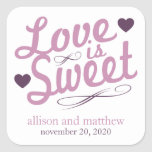 Love Is Sweet Old Fashioined Labels (Purple/Plum) Square Sticker