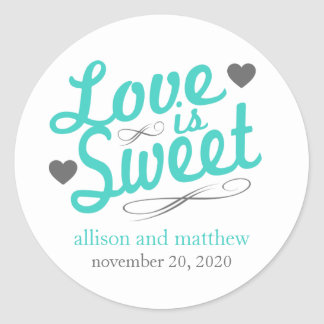 Love Is Sweet Old Fashioined Labels (Teal / Gray) Classic Round Sticker