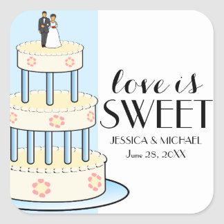 Love is Sweet Personalized Wedding Cake Box Labels