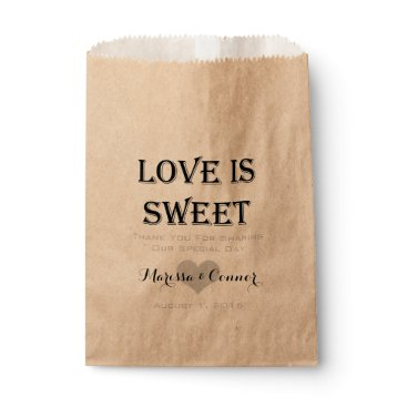 Valentines Themed Love Is Sweet Personalized Wedding Favor Bag