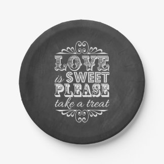 Love Is Sweet, Please Take A Treat! Chalkboard Paper Plate