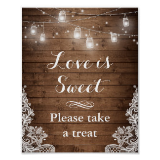 Love is Sweet | Rustic Wood String Lights Lace Poster