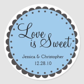 Love is Sweet - Scalloped Edge - Personlize Classic Round Sticker