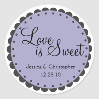Love is Sweet - Scalloped Edge - Personlize Round Stickers