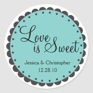 Love is Sweet - Scalloped Edge - Personlize Sticker