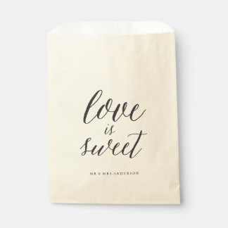 Love Is Sweet Script Chic Calligraphy Name Wedding Favor Bag