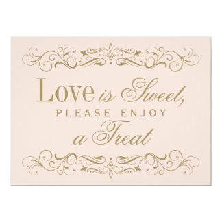 Love is Sweet Sign | Antique Gold Flourish 6.5x8.75 Paper Invitation Card