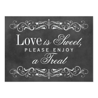 Love is Sweet Sign   Chalkboard Flourish 6.5x8.75 Paper Invitation Card