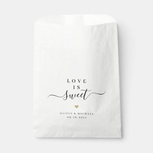 Love is sweet simple elegant script wedding favor bag