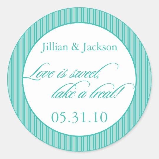Love is Sweet Sticker in Aqua