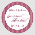 Love is Sweet Sticker in Burgundy sticker