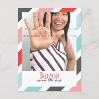 Love is... Sweet Stripes Border Photo Postcards postcard