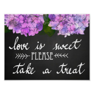 Love Is Sweet Take A Treat Chalkboard Wedding Poster