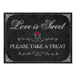 Love is Sweet Take a Treat Halloween Skeleton Sign Card