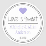 Love Is Sweet The New Mr. & Mrs. (Purple / Gray) Classic Round Sticker