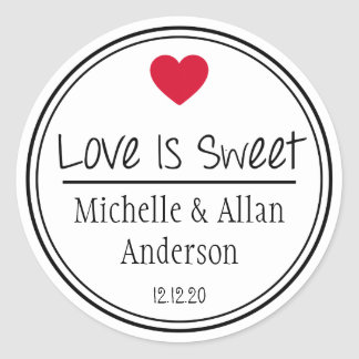 Love Is Sweet The New Mr. & Mrs. (Red / Black) Classic Round Sticker