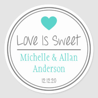 Love Is Sweet The New Mr. & Mrs. (Teal / Gray) Classic Round Sticker