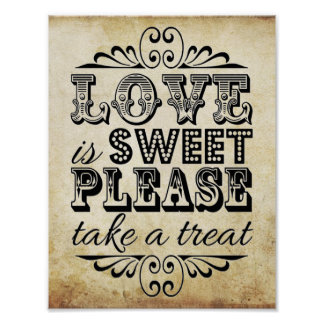 Love Is Sweet - Vintage Wedding Sign