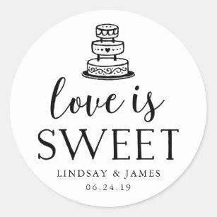 Love is Sweet | Wedding Cake Classic Round Sticker