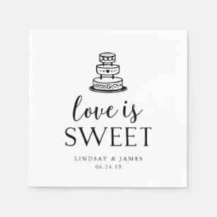 Love Is Sweet Wedding Cake Cutting Paper Napkin