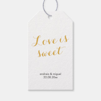Love is Sweet Wedding Favor Tag Script Gold Black Pack Of Gift Tags