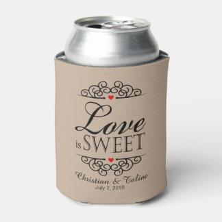 Love Is Sweet Wedding   kraft tan Can Cooler