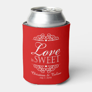 Love Is Sweet Wedding   red Can Cooler