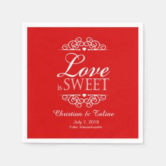 Love Is Sweet Wedding   red Standard Cocktail Napkin