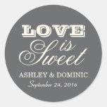 Love is Sweet Wedding Sticker | Charcoal Gray