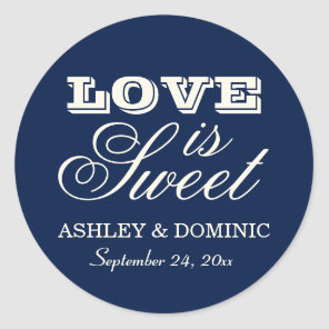 Love is Sweet Wedding Sticker | Navy Blue
