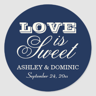 Love is Sweet Wedding Sticker   Navy Blue