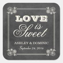 Love is Sweet Wedding Sticker | Vintage Chalkboard