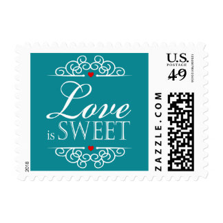 Love Is Sweet Wedding Typography | teal Postage