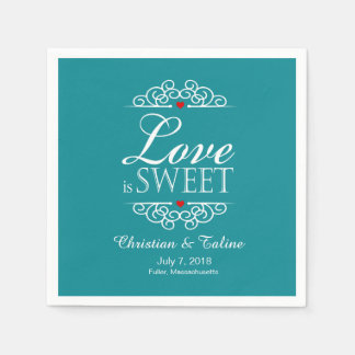 Love Is Sweet Wedding Typography   teal Standard Cocktail Napkin