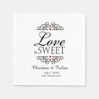 Love Is Sweet Wedding   white & black Standard Cocktail Napkin