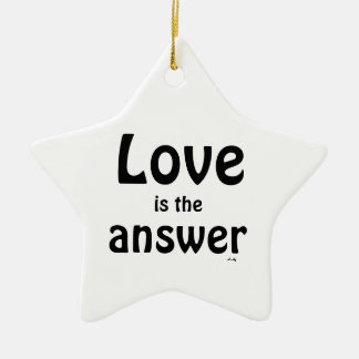Love is the Answer Black Hearts Star Ornament