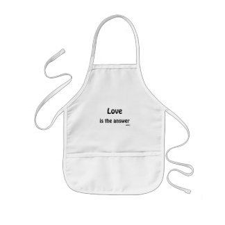 Love is the Answer Black on White Kids Apron