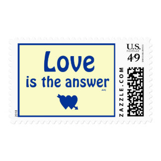 Love is the Answer Blue Hearts Medium Stamp