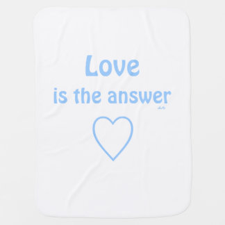 Love is the Answer Blue on White Baby Blanket